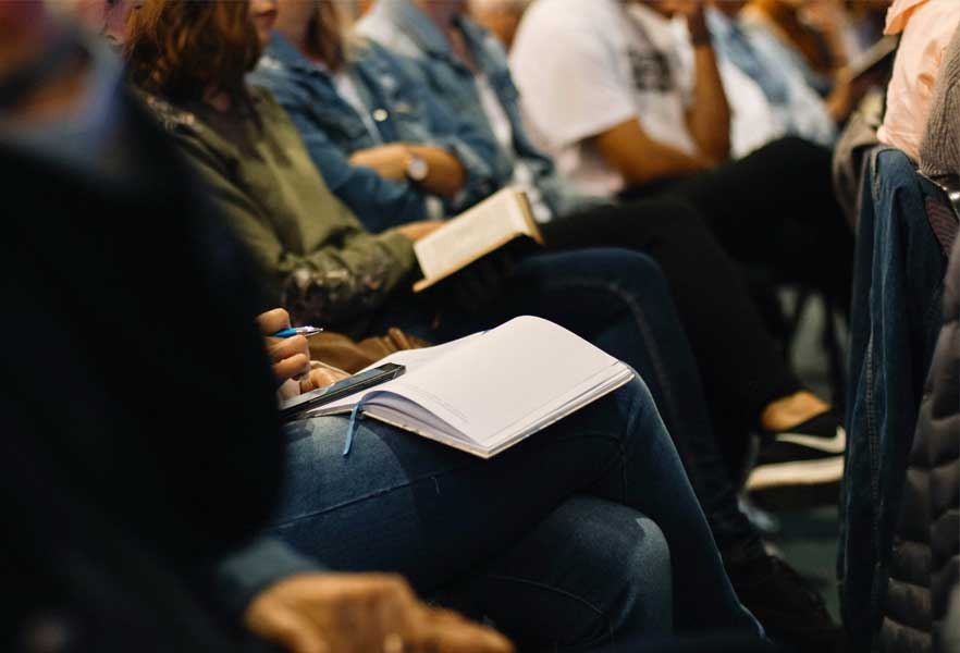 Group of people at a presentation