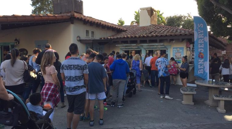 Customers waiting for free cones at Ben & Jerry's