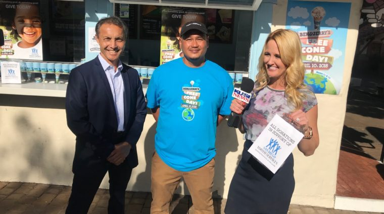 SDYS CEO Walter Philips, Ben & Jerry's Catering and Events Manager Ephraim Mallari, and KUSI News Representative
